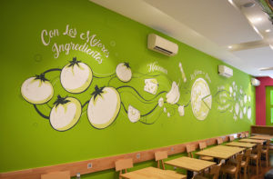 Mural Elennon color pintura pizzeria la pizza mas sana
