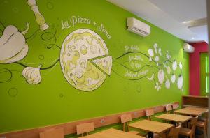 Mural Murales Elennon color pintura pizzeria la pizza mas sana