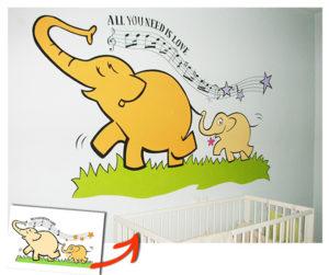 Pintura Mural Murales Elennon color elefante